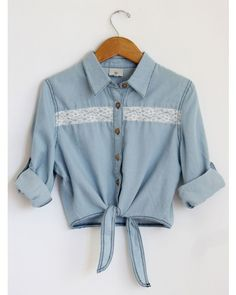 denim crop top with high-waisted white shorts would be cute :)