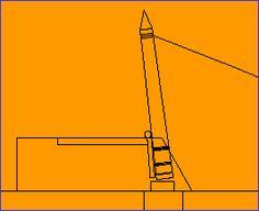 모래 주머니는 램프 도움 쿠션 오벨리스크의 스윙의 끝 이전에 묶여있다. 오 벨 리스크 천천히하지 않습니다 자신의 하강 경우, 모래 주머니는 회전 홈에 가까워지고, 천천히 팁을 오벨리스크 수 있도록 개방 절단 할 수 있습니다.