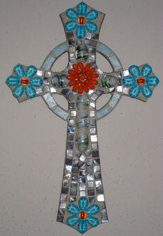 Orange and Blue flower Mosaic Cross by StarStruckMosaics on Etsy, $35.00