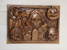 Creepy Halloween Decor ~ Spooky Halloween Collage,  Skulls Pumpkin Witch and Bats, Decorative Skull, Skull Wood Carving, RIP Wall Hanging