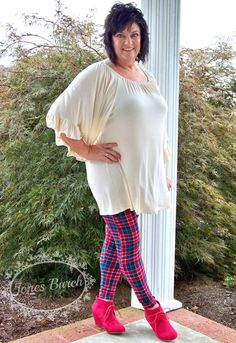 Red and Navy Plaid Leggings