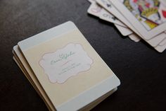 Personalized playing cards as a welcome gift or favor. Perfect for a destination wedding.
