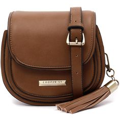 Cooper St Deliah Tan Cross Body ($59) ❤ liked on Polyvore featuring bags, handbags, shoulder bags, faux-leather handbags, tan shoulder bag, brown crossbody purse, crossbody flap purse and brown purse