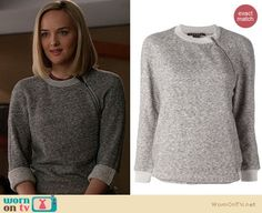 Robyn's grey sweatshirt with shoulder zip on The Good Wife.  Outfit Details: https://wornontv.net/19725/ #TheGoodWife