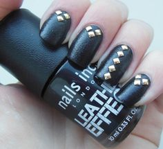 black leather and gold stud nailart
