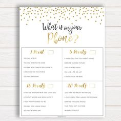 What's on Your Phone Bridal Shower Game, Bridal Shower Phone Game, What Is On Your Phone, Bridal Shower Games, Bachelorette Party Games