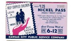 Weekly pass from Kansas City (Missouri) Public Service Company (1952)  (Not a pass in the usual sense, as additional fare must be paid according to rules printed on passes)