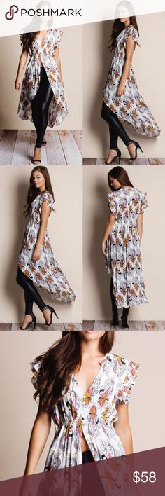 """""""Muse"""" Printed Button Down Maxi Top Printed button down maxi top. This is an ACTUAL PIC of the item - all photography done personally by me. Model is 5'9"""", 32""""-24""""-36"""" wearing the size small. NO TRADES DO NOT BOTHER ASKING. PRICE FIRM. Bare Anthology Tops Blouses"""