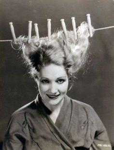 Edwina Booth drying her hair!