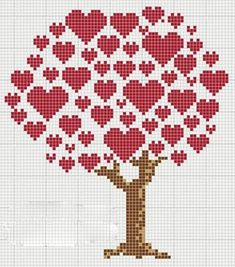 Cross Stitch Embroidery hancock's house of happy: Heart Tree Cross Stitch Chart for Valentines Cross Stitch Tree, Cross Stitch Boards, Cross Stitch Fabric, Cross Stitch Heart, Cross Stitch Alphabet, Modern Cross Stitch, Cross Stitch Designs, Cross Stitching, Cross Stitch Embroidery