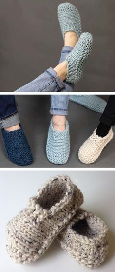Amazing Knitting provides a directory of free knitting patterns, tips, and tricks for knitters. Knit Slippers Free Pattern, Crochet Slipper Pattern, Knitted Slippers, Crochet Shoes, Knit Crochet, Knitting Paterns, Easy Crochet Patterns, Loom Knitting, Knitting Socks