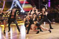 Meryl Davis and Maksim Chmerkovskiy dance the Salsa on week seven of 'Dancing With The Stars' on April 28, 2014.