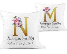 Personalised Nanny Cushion, Grandma Gift Cushion, Loved By, Christmas Grandchild Nan Gift, Mum Gift, Mummy Cushion, Nanna Birthday Pillow - Cushion & Cover / Nana