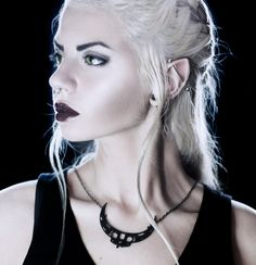 """The """"Aztec Moon"""" Necklace in black from The Rogue and The Wolf. I love this necklace and the model is perfect"""
