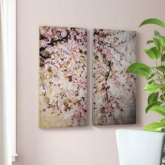 'Cherry Blossom' 2 Piece Painting Print Set on Canvas