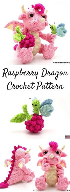 Raspberry Dragon Amigurumi Crochet Pattern Printable #ad #amigurumi #amigurumidoll #amigurumipattern #amigurumitoy #amigurumiaddict #crochet #crocheting #croche