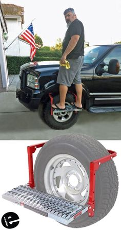 Powerbuilt Adjustable Tire Step for SUVs, RVs, and Trucks - 300 lbs Powerbuilt Nerf Bars - Running B Even tall guys can use a step up. This vehicle wheel step is the perfect gift idea for any guy to get a boost while work. Truck Accesories, Car Accessories For Guys, Camping Accessories, Gmc Trucks, Pickup Trucks, Toyota Trucks, Tire Steps, Accessoires 4x4, Kombi Home