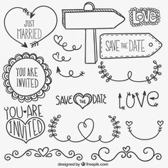 Free vector Hand drawn wedding ornaments - New Deko Sites Lettering Brush, Doodle Lettering, Doodle Drawings, Doodle Art, Wedding Icon, Wedding Ideas, Wedding Ornament, Lettering Tutorial, Bullet Journal Inspiration