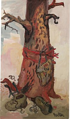 "thunderstruck9: "" Georg Baselitz (German, b. 1938), Der Baum [The Tree], 1966. Oil on canvas, 135.5 x 79 cm. """