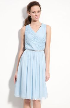 Belted Ruched Chiffon Dress - Lyst