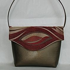 Faux leather & Fabric bag designed and made by Ellen Younkins