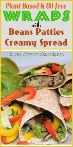 Wraps with Bean Patty (dairy free, plant based, oil free, wfpb) #vegan #vegetarian #glutenfree #praveena #vegcookbook #recipe #breakfast #meal #plantbased #wfpb #food #kidsmeal #lunchbox #kidslunchbox #burger #wraps #bean #patty #oilfree #zeeroOil #homemade #homefood #health #diet #wellness #healthy #veggie #bunFree #breadfree #instantpot #airfryer #legumes #beans #meal #dinner #freezer #friendly