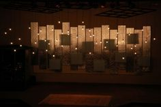 Chris Faulkner from Grace Point Church in Bentonville, AR brings us this nontraditional Christmas design perfect for all year round. (Originally posted December They used half-inch foam and h… Stage Set Design, Church Stage Design, Retro Lighting, Stage Lighting, Lighting Ideas, Christmas Stage Design, Christmas 2017, Concert Stage Design, Church Interior Design