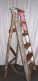 vintage ladder = DIY shelf