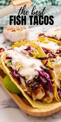 Made with seasoned baked fish fillets, a fresh cabbage slaw, and a creamy chipotle sauce, these fish tacos are simple to make and absolutely delicious! Halibut Fish Tacos, Slaw For Fish Tacos, Fish Tacos With Cabbage, Baked Fish Tacos, Easy Fish Tacos, Baked Fish Fillet, Shrimp Tacos, Fish Dishes, Seafood Dishes