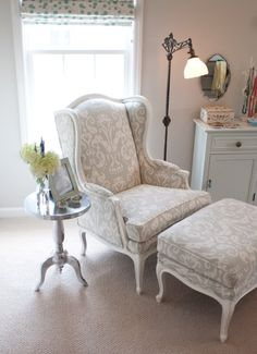 Little Green Notebook: House Tour: Emily and Todd's Bedroom, I want a chair like this