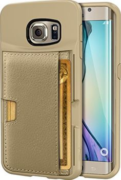 Galaxy S6 edge Wallet Case - Q Card Case for Samsung Galaxy S6 edge by CM4 - Ultra Slim Protective *Kickstand* Credit Card Carrying Case (Platinum Gold)
