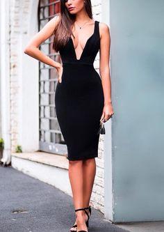 e6f674e7aa Ghislaine Black V-Neck Bandage Dress – BWCLOSET Date Night Dresses