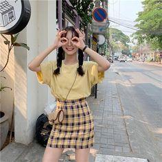 Korean Skirt Outfits, Korean Summer Outfits, Korean Casual Outfits, Korean Outfit Street Styles, Korean Style, Trendy Outfits, Cute Korean Fashion, Korean Fashion Trends, Korean Street Fashion Summer