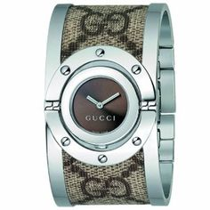 SALE!! Gucci Women's YA112425 Twirl Medium Beige and Ebony GG Plus Bangle Watch REVIEW
