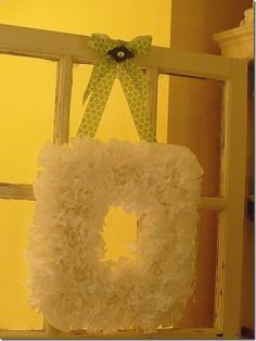 square coffee filter wreath made with cardboard wreath form
