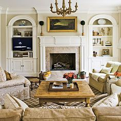 Traditional Family Room Fireplace < Stylish, Traditional yet Family-Friendly Decorating - Southern Living Mobile Formal Living Rooms, My Living Room, Home And Living, Living Room Furniture, Living Room Decor, Den Furniture, Small Living, Furniture Dolly, Cozy Living