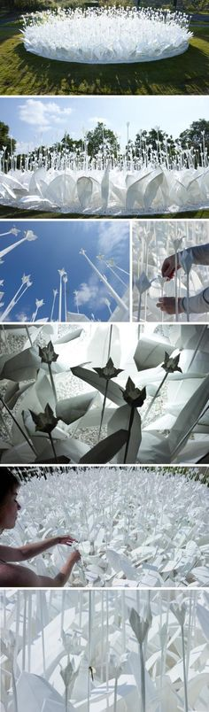 Anouk Vogel: Paper Garden  Folding for peace  ...Inspired by an ancient Japanese legend which promises that anyone who folds a thousand origami cranes will be granted a wish, such as long life or recovery from illness...