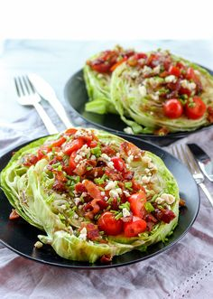 Steakhouse Wedge Salad with a Twist. Crunchy iceberg lettuce bacon tomato and blue cheese combine to create this twist on a classic steakhouse wedge salad. Salad Bar, Soup And Salad, Wedge Salad Recipes, Cooking Recipes, Healthy Recipes, Pork Recipes, Carrot Recipes, Cabbage Recipes, Fudge Recipes