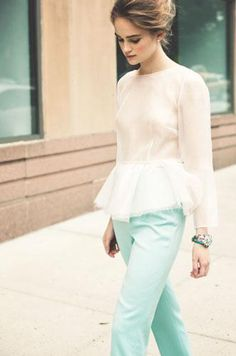 peplum top and pastel pants