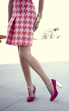 Houndstooth Skirt + T-Strap Pumps <3 L.O.V.E. love the Shoes!!