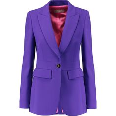 Emilio Pucci Wool-blend crepe blazer (€595) ❤ liked on Polyvore featuring outerwear, jackets, blazers, purple, crepe jacket, blazer jacket, purple blazer, crepe blazer and slim blazer jacket