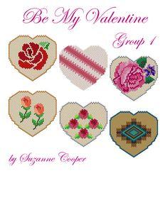 Be My Valentine Group 1 by Suzanne Cooper Peyote Stitch Patterns, Perler Patterns, Jewelry Patterns, Beading Patterns, Native Beadwork, Fuse Beads, Beading Tutorials, Loom Beading, Be My Valentine