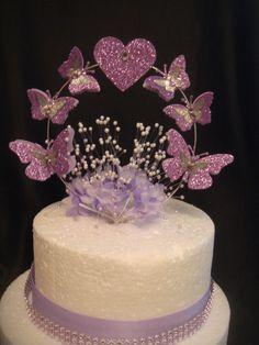 lilac glitter butterfly heart babies breath birthday wedding cake topper Butterfly Wedding Cake, Butterfly Cakes, Birthday Cake Toppers, Wedding Cake Toppers, Wedding Cakes, Lavender Quinceanera Dresses, Sparkly Cake, Quinceanera Cakes, Butterfly Baby Shower