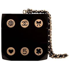 """Preowned Chanel """"dice"""" Casino Minaudiere Bag ($13,650) ❤ liked on Polyvore featuring bags, handbags, clutches, chanel, black, print purse, chanel handbags, preowned handbags, print handbags and pattern purse"""