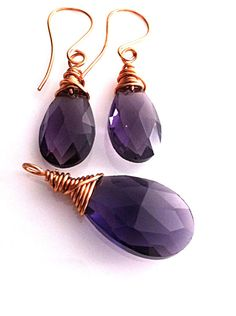 Purple Crystal Jewelry Set/ Copper Wire Wrapped by DesignsByAlesia, $25.00