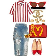 Untitled #1429 by stylebyteajaye on Polyvore featuring polyvore fashion style Christian Louboutin Moschino Chanel Alexander McQueen C. Wonder
