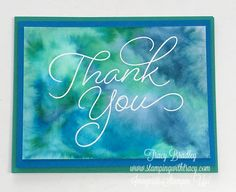 Today I'm sharing a card I sent off to a friend last week! I think blue and green combined is so pretty and was really pleased how nicely Pacific Point and Emerald Envy blended together. Card Making Inspiration, Making Ideas, Thank U Cards, Watercolor Cards, Watercolour, Beautiful Handmade Cards, Distress Ink, Card Tags, Stamping Up