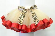 Satin trim Tutu Leopard print Bow