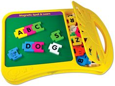 Learning to spell has never been this much fun! This unique learning system is portable, sturdy and contains 40 interlocking magnetic upper case letters, 10 magnetic pictures and a handy storage compa