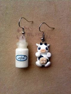 Cow polymer clay earring set